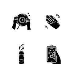 Clubbing black glyph icons set on white space vector