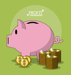 colorful poster with profit money box shape of pig vector image