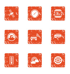Cosmic wireless icons set grunge style vector