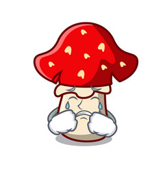 Crying amanita mushroom mascot cartoon vector