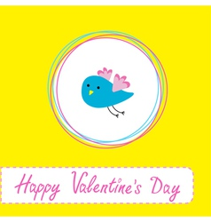 Cute blue bird Happy Valentines Day vector image