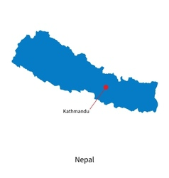 Detailed map of Nepal and capital city Kathmandu vector image