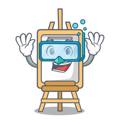 diving easel character cartoon style vector image