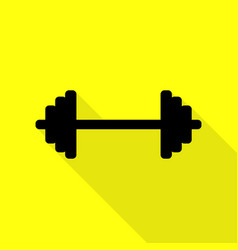 dumbbell weights sign black icon with flat style vector image