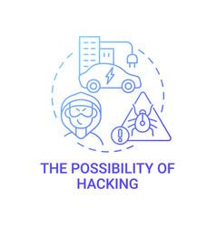 Ev hacking threat concept icon vector