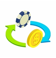 Exchange chip to dollar sometric 3d icon vector image vector image