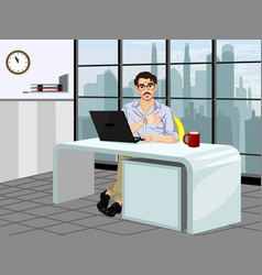 fashionable guy in the workplace vector image