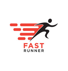 fast running silhouette logo design template vector image