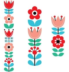 Finnish inspired long folk art pattern - Nordic vector