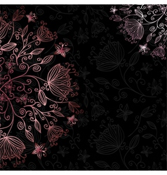 Floral card black vector