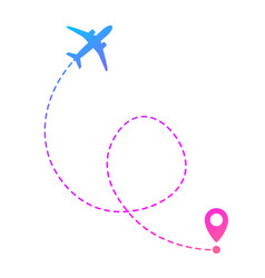 Flying plane and geolocation mark for mobile app vector
