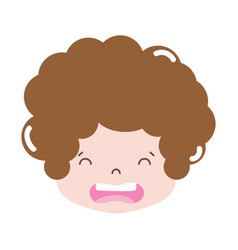 Full color boy head with curly hair and disgusted vector