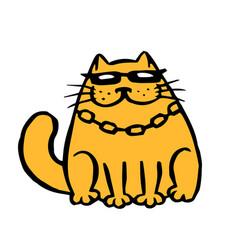 Funny cartoon contour mafia cat vector