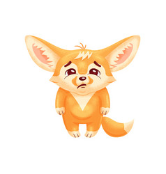 Funny fennec fox looks with sadness cute kawaii vector