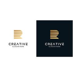 Golden letter r logo design monogram vector
