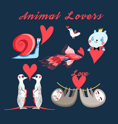 graphics festive set animal lovers vector image