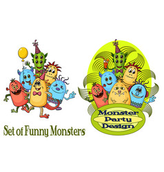 group of cartoon monsters vector image