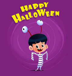 halloween poster with kid wearing costume vector image