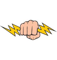 hand holding lightning bolt vector image
