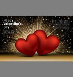 happy valentines day golden luxury elegant hearts vector image