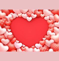 Heart shaped frame realistic 3d romantic vector