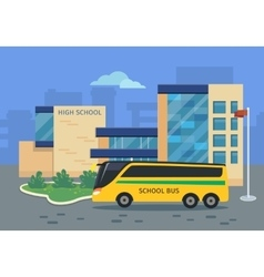 High School Building with Yellow Bus vector image