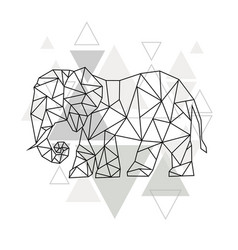 image low poly elephant isolated and triangle vector image