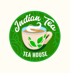 Indian tea icon emblem with steaming cup vector