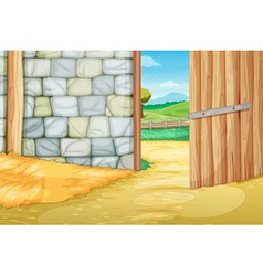 Inside the barn vector image