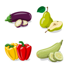 isolated object of vegetable and fruit logo vector image