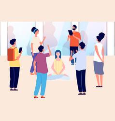 Isolated woman introvert vs extravert mental vector
