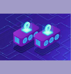 Isometric cloud mining concept vector