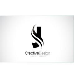 J letter design brush paint stroke vector