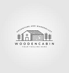 Line art cabin logo design cottage minimalist vector