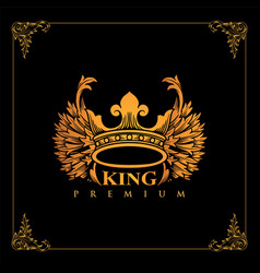 luxury crown golden winged king design vector image