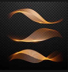 magic gold waves set light effect vector image