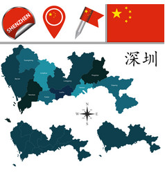 Map of shenzhen with divisions vector