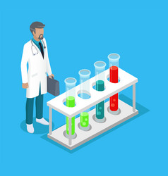 Medical worker man in lab vector