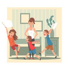 mother and her mischievous children kids having vector image