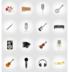 music items and equipment flat icons 17 vector image