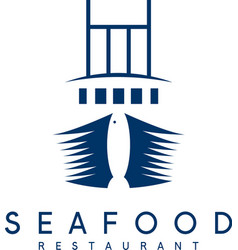 negative space concept of seafood restaurant with vector image