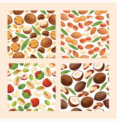 Nut seamless pattern nutshell of hazelnut vector