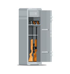 Open metal weapon safe with guns and rifles vector