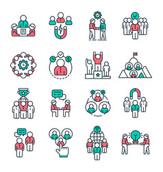 people team outline icons work group pictograph vector image