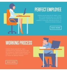 Perfect employee and working process banners vector