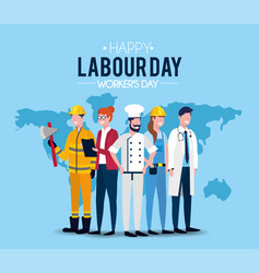 Professional people to labour day celebration vector
