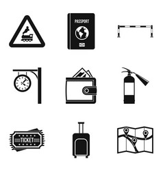 Railway icons set simple style vector