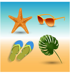 realistic summer holidays seaside beach icons set vector image