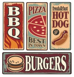 Retro fast food tin signs vector image