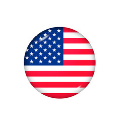 Round flag united states button icon glossy vector